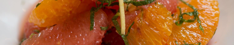 Salade d'agrumes au gingembre et menthe fraiche