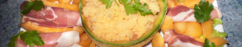 Rosace de melon et jambon, granité melon